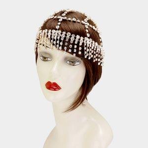 Gold Crystal Flapper Headpiece Hair Accessory